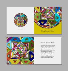 greeting card design ethnic mandala vector image vector image