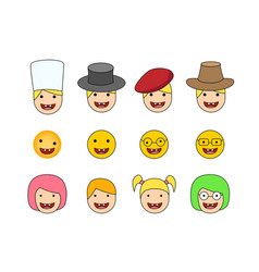 set of down syndrome kid icon in flat style vector image vector image