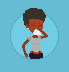 young african-american sick woman sneezing vector image