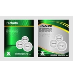 Green brochure with circles and wave for template vector image