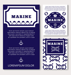 marine banners or flyers design with sea elements vector image vector image