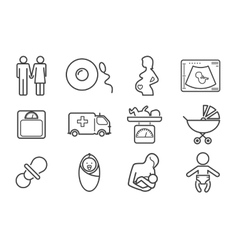 Medicine and pregnancy line icons set vector