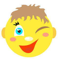 smiley boy winks and smiles vector image vector image