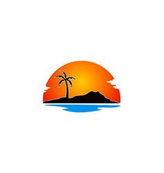 beach palm tree holiday landscape logo vector image