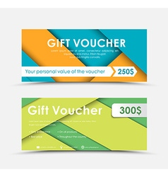 Design of gift vouchers in style of material vector image