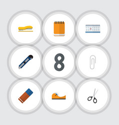 Flat icon tool set of notepaper knife sticky and vector