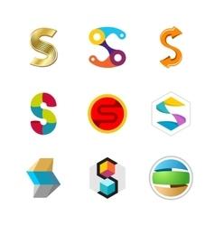 Letter S logo set Color icon templates design vector image vector image