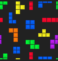 seamless pattern brick pieces game background vector image