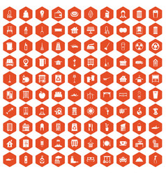 100 cleaning icons hexagon orange vector image