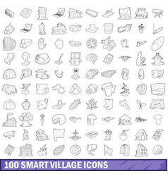100 smart village icons set outline style vector