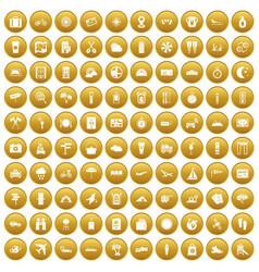100 tourist trip icons set gold vector