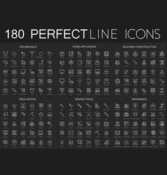 180 modern thin line icons set on dark black vector