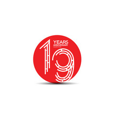 19 years anniversary design with labyrinth style vector