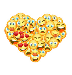 A set emoticons shaped as heart vector