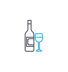 Alcoholic beverages linear icon concept alcoholic vector