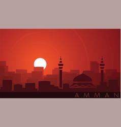 Amman low sun skyline scene vector