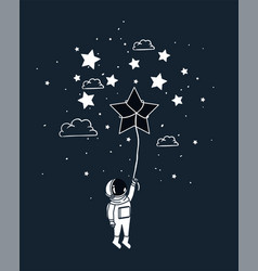 Astronaut draw with star design vector