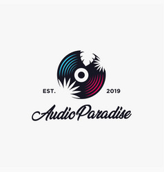 Audio paradise logo design with tropical theme cd vector