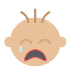 Baboy cry flat icon child and infant vector