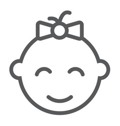 Baby girl line icon kid and child vector