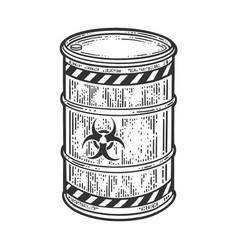 Barrel with biological hazard sign sketch vector
