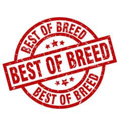 Best of breed round red grunge stamp vector