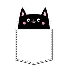 Black cat in the pocket pink cheeks cute cartoon vector