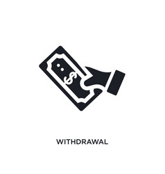 Black withdrawal isolated icon simple element vector
