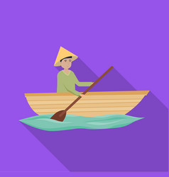 Boat and vietnamese icon vector