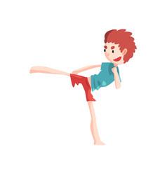 Boy practicing capoeira movement kid character vector