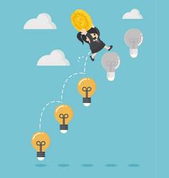 Business woman holding a dollar jump light bulb vector