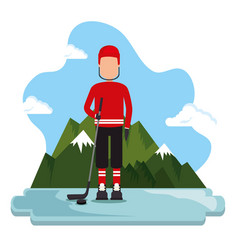 canadian hockey player scene vector image