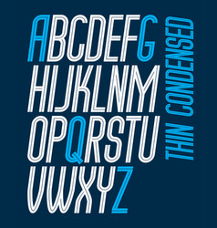 Capital thin condensed english alphabet letters vector
