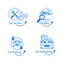 car sharing rent shopping service flat icon set vector image