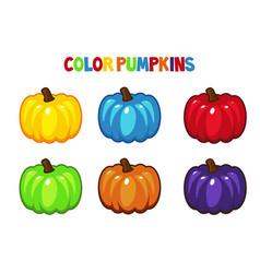 cartoon color pumpkins vector image