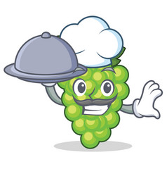 Chef green grapes mascot cartoon vector