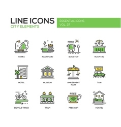 City elements - line design icons set vector image