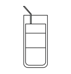 Cocktail glass cup party straw outline vector