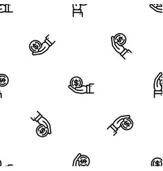 Coin in hand pattern seamless vector
