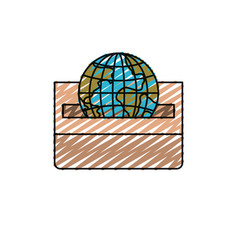 Color crayon silhouette front view flat globe vector