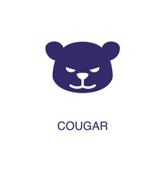 cougar element in flat simple style on white vector image