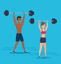 couple practicing exercise character vector image
