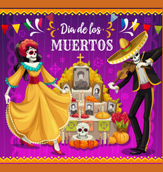 dancing skeletons altar mexican day dead vector image