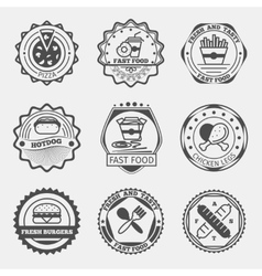 Fast food emblems logo or labels set vector