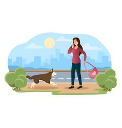 female teen afraid dog with cityscape vector image