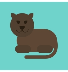 flat icon on background cartoon panther vector image