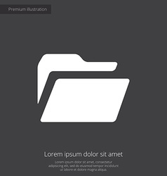 Folder premium icon white on dark background vector