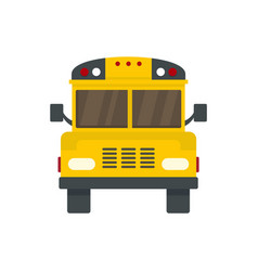 Front of old school bus icon flat style vector