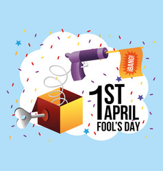 Funny box with gun and flag to fools day vector