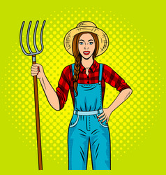 Girl farmer with pitchfork pop art vector